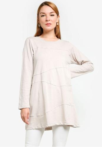 Aqeela Muslimah Wear grey Basic Top 534C8AA4830BB9GS_1