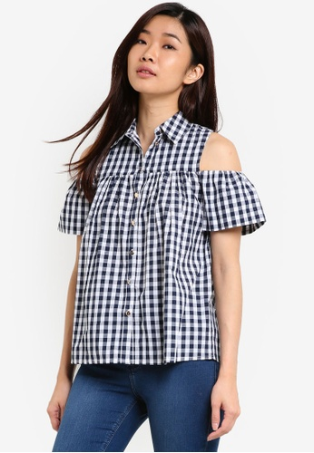 Dorothy Perkins navy Gingham Cold-Shoulder Shirt DO816AA20UVRMY_1