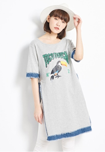 Tokichoi grey Oversized T-Shirt Dress with Denim Trims FD25EAA2D90B6EGS_1
