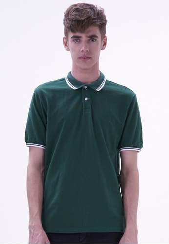 Drum green Dual Tipping Fashion Polo DR425AA34HRXMY_1