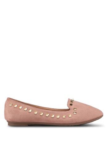 Noveni 粉紅色 鉚釘平底鞋 2B9FBSH6748BE9GS_1