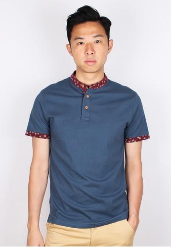 Moley blue Floral Motif Mandarin Collar Polo T-Shirt 75BF4AAFD186FBGS_1