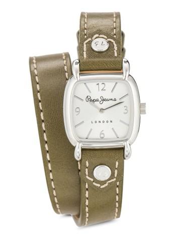 R23esprit台灣outlet51103505 Cara 纏繞式皮革方錶, 錶類, 飾品配件