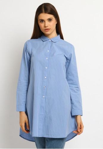 Osella blue Osella Baju Perempuan Kemeja Lengan Panjang Tunic  Stripe Blue 56D6EAA3DA4CBDGS_1