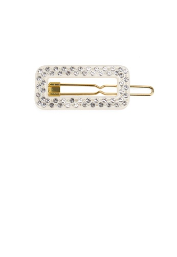 Glamorousky white Fashion and Simple Beige Hollow Geometric Hair Clip with Cubic Zirconia AE062AC8090A31GS_1