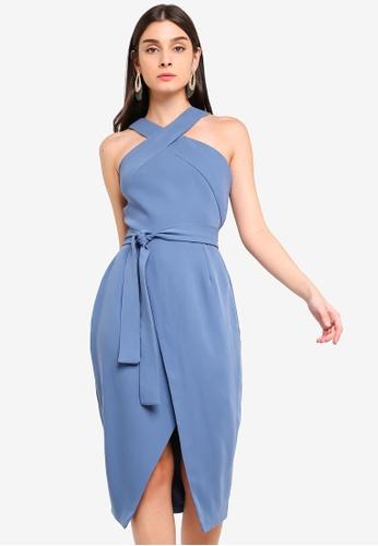 Lavish Alice blue Halter Neck Wrap Front Midi Dress 2E2DAAA5D91295GS_1