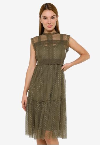 JACQUELINE DE YONG green Line Sleeveless Dress 4F556AAA4D022CGS_1