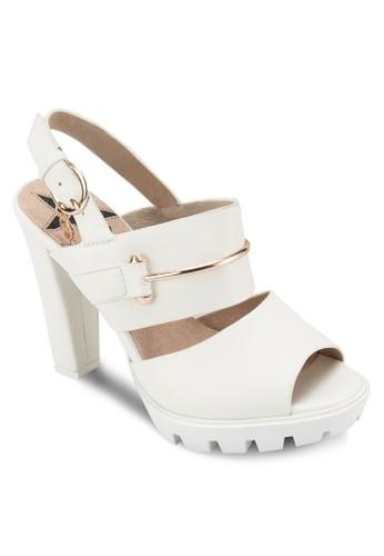 金飾露趾粗跟涼鞋,esprit hk 女鞋, 鞋