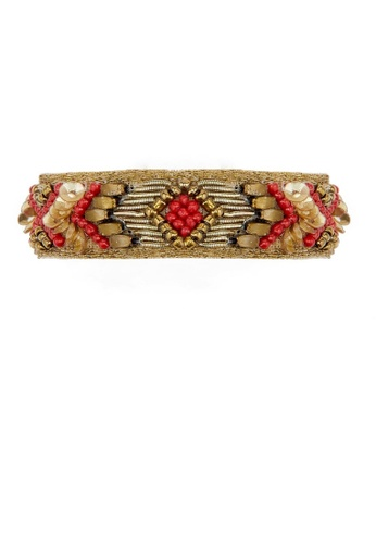 HIPANEMA red and multi and gold Weaving mini-cuff bracelet 457BDAC17E7946GS_1