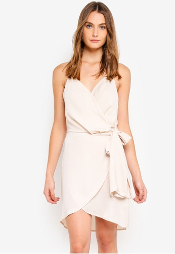 Cotton On beige Woven Satin Strappy Wrap Mini Dress 04E09AAFC879BBGS_1