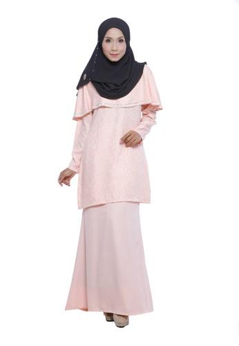 Thalia Kurung Moden Cape in Rose Quartz from Adrini's in Pink