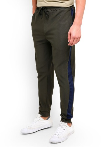 UniqTee green Jogging Trousers With Side Band B59CFAA0365297GS_1