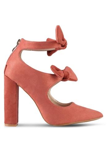 Velvet 粉紅色 Double Bow Detail Chunky Heel FBCCBSH18A688AGS_1