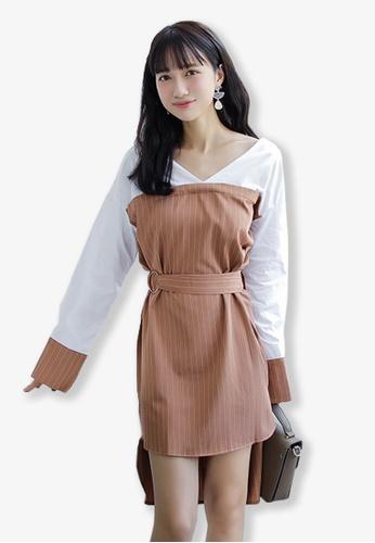 Sunnydaysweety brown Grey Pinstripe Dip Hem One Piece Dress UA101950BW SU219AA0GHDYSG_1