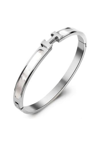 YOUNIQ silver YOUNIQ HERZ Silver Titanium Steel Bangle with Cubic Zirconia A6D22ACA951F4BGS_1