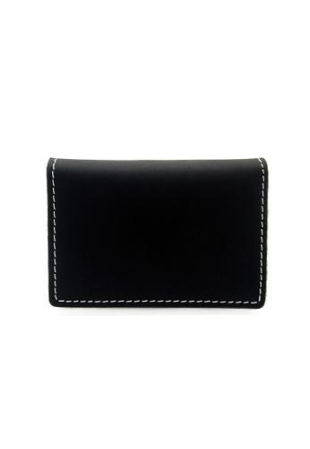 LUXORA black The Ninja Co. Top Grain Leather Card Wallet Holder Black 5ACA7AC3C6F2A5GS_1