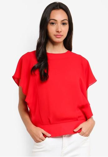 FORCAST red Georgia Ruffle Sleeve Top 6D9E3AA7A6C1A7GS_1