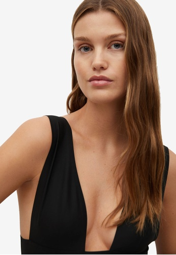 Mango black V-neckline Bodysuit EE0E6AA70BAD67GS_1