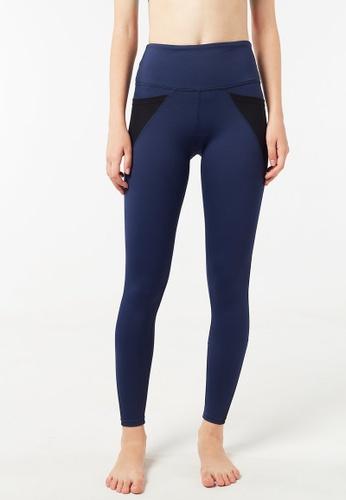 FUNFIT blue Intensity High Waisted Side-Pocket Mesh Leggings (Navy Blue) 088B4AAB01C4CAGS_1