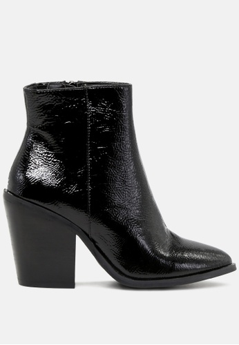 Rag & CO. black Crinkle Patent Ankle Boots with Block Heel RCSH1769 0895ASHC18F7D0GS_1