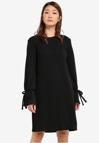 Dorothy Perkins black Tie Sleeve Shift Dress DO816AA0S4S7MY_1
