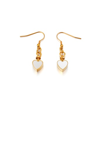 Glamorousky silver Fashion Simple Plated Gold Heart-shaped 316L Stainless Steel Earrings E2384AC38BECE2GS_1