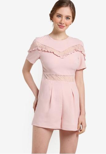 Miss Selfridge pink Petite Lace Insert Playsuit MI665AA91YCMMY_1