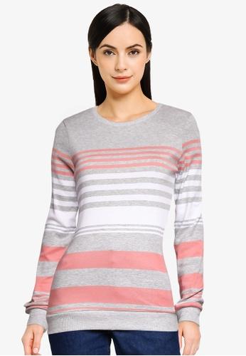 LC Waikiki grey Striped Cotton T-Shirt D2E9BAAC79D12AGS_1