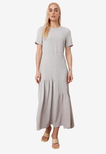 Trendyol grey Asymmetrical Gathered Maxi Dress 26455AABCE7150GS_1