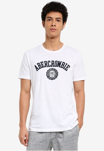 Abercrombie & Fitch white Brand Logo T-Shirt 7166CAAFEB3160GS_1