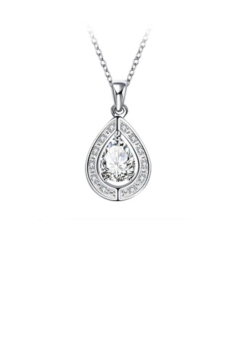 Glamorousky white Fashion and Elegant Water Drop-shaped Pendant with White Cubic Zircon and Necklace EA0B3ACF335322GS_1