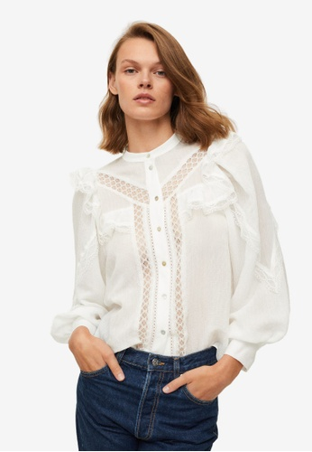 Mango white Ruffled Embroidered Blouse 04797AA9A5F931GS_1