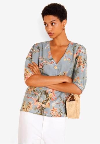 Mango grey Floral Linen-Blend Blouse D88DBAAE4871AAGS_1