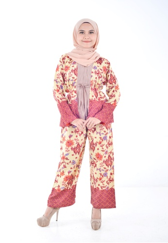 Assie Modesty red and pink and yellow Java Co-ord Set CB64AAADB65548GS_1
