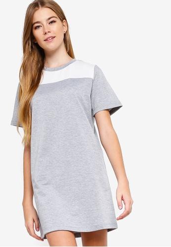 Something Borrowed grey Colorblock Panel Tee Dress 14662AA758F283GS_1