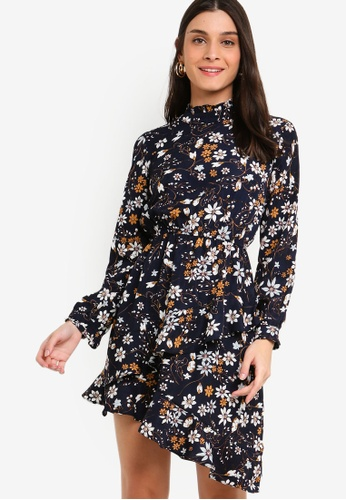 ZALORA multi and navy Long Sleeves Ruffles Fit And Flare Dress 597FCAA1FE3338GS_1