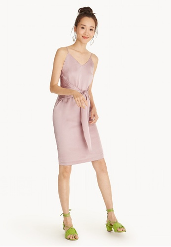 Pomelo pink Satin Front Bow Midi Dress - Pink 480D9AA7AA6317GS_1