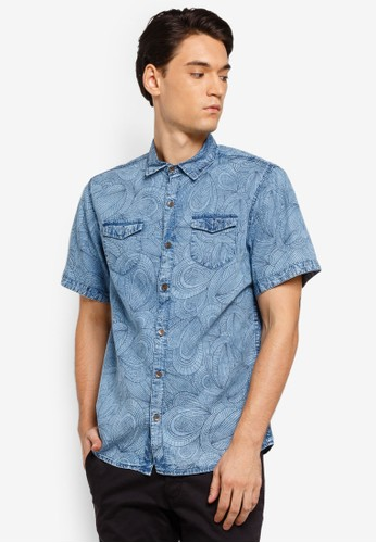 Fidelio blue Printed Pattern Washed Denim Shirt 4FADDAABA024D1GS_1