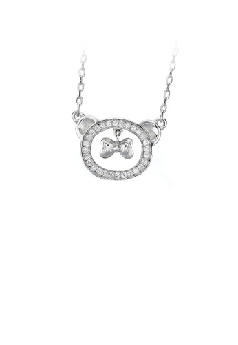 Glamorousky white 925 Sterling Silver Bear Necklace with White Austrian Element Crystal E8585AC5A4F352GS_1