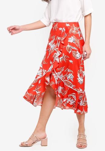 ZALORA 橘色 不規則荷葉飾裙 36AB1AAC58F976GS_1