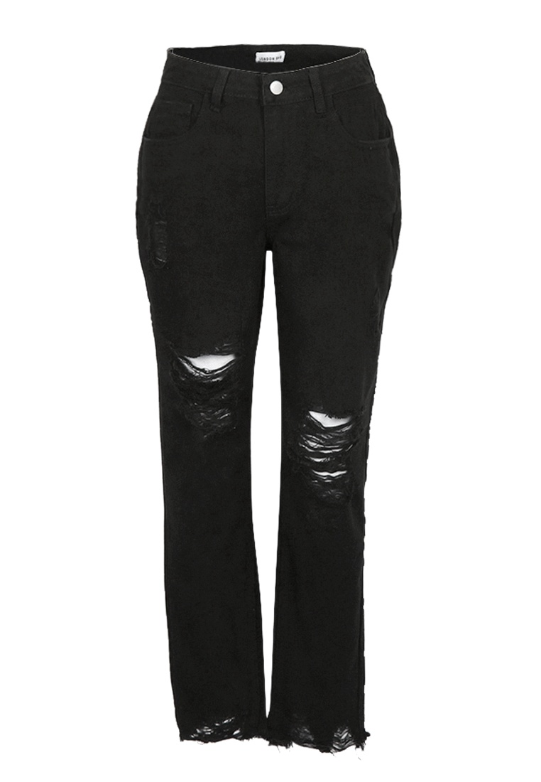 Black London Distressed Rag Black Jeans Boyfriend RPq87Pnw4