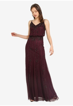 225908d4c20 Lace   Beads red Keeva Strappy Embellished Maxi Dress F3040AA24566A7GS 1