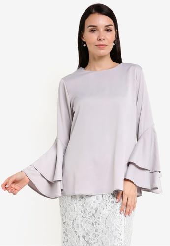 BYN grey 2-Layer Flare Sleeve Top BY059AA62VJLMY_1