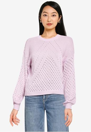 ONLY purple Kendra Long Sleeve Knit Pullover 25ED2AAFA4E09BGS_1