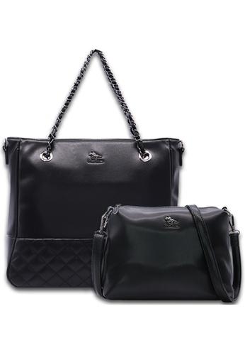 POLO HILL black Polo Hill Lucero Faux Leather Chain Shoulder Bag Set 3E82BAC8ADCD5BGS_1