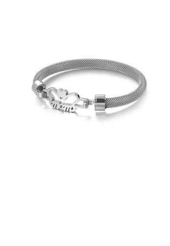 Glamorousky 銀色 時尚優雅心形mom 316L鋼手鐲 C3BF7ACA708C73GS_1