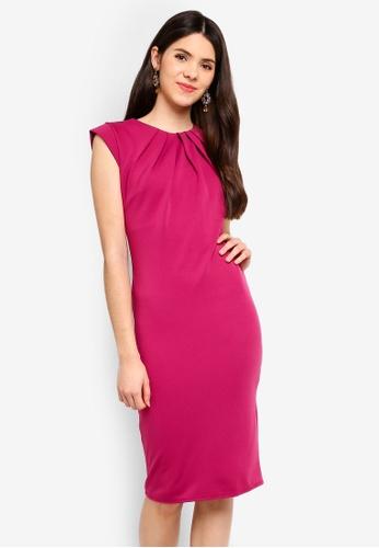 Goddiva pink Pleated Neckline Cap Sleeve Midi Dress E5611AA5065D81GS_1
