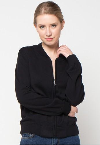 Noir Sur Blanc black Ladies Card Jacket With Zipper NO321AA47KVWID_1