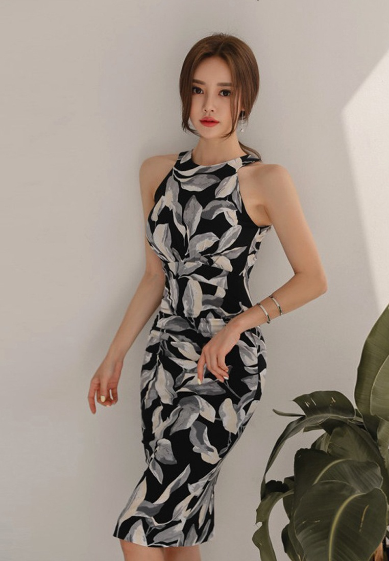 Piece A060434 One Dress Pattern multi Style neck Floral New Sunnydaysweety halter Shealth 2018 8Ov4x8w