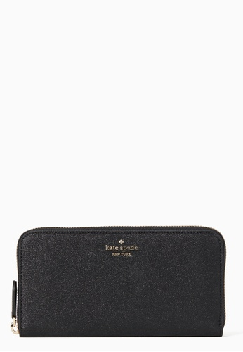 Kate Spade black Kate Spade Lola Glitter Large Continental Wallet - Black 20A58AC6FE881AGS_1